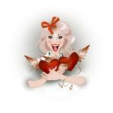 bakgrund som omfamnar isolerad joyful white för flicka hjärta royaltyfri illustrationer