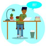 bakgrund som tecknar den blom- gr?svektorn Workspacebegrepp Pojkestudenten arbetar med en minnestavla Den unga mannen meddelar i  royaltyfri illustrationer