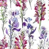 bakgrund som tecknar den seamless vektorn för blom- blommor Teckning Seamless bakgrund stock illustrationer