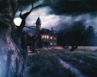 bakgrund spökat hus Royaltyfri Bild