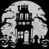 bakgrund spökat hus Arkivbild