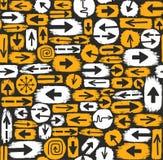 Bakgrund, svart och guling för pilar sömlös Royaltyfria Bilder