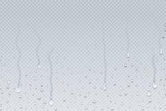 bakgrund tappar vatten Droppander för duschångakondensation på genomskinligt exponeringsglas, regndroppar på fönster Realistisk v royaltyfri illustrationer