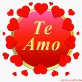 Bakgrund Te amo Jag älskar dig hälsningkortet i spanjor stock illustrationer