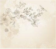 bakgrund tecknad blom- handstil Royaltyfri Bild