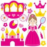 bakgrund tecknad set white för handillustrationprincess Royaltyfri Bild
