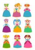 bakgrund tecknad set white för handillustrationprincess Royaltyfria Bilder