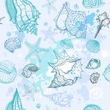 bakgrund tecknat handillustrationhav Arkivbild