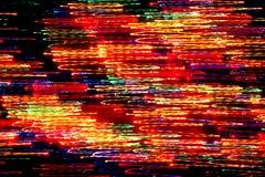 Bakgrund, textur, ljus abstrakt modell i olika linjer för en färg, band och fläckar på en svart bakgrund, neon Arkivbilder