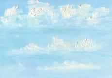 bakgrund undersöker mycket textur för stycke för oljemålning där till Flyg- moln i den blåa vårhimlen royaltyfri illustrationer
