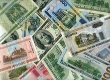 Bakgrund US dollar- och Vitryssland rubel Arkivfoton
