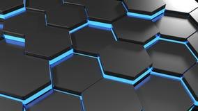 Bakgrund - vägg av blåa pyramider - tolkning 3D stock video