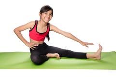 bakgrund övar för skjortasport för flicka sund isolerad s yoga för white Royaltyfria Foton