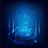 Bakgrund, vektor & illustration för futuristisk strömkrets för teknologi digital Arkivbild