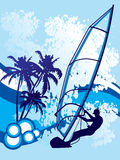 bakgrund vindsurfar royaltyfri illustrationer
