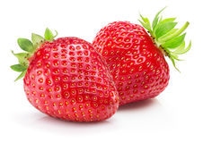 bakgrund vita isolerade jordgubbar Arkivfoto