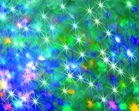 Bakgrunden av att skina färgrika stjärnor på blått stock illustrationer