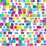 Bakgrunden av olika kulöra fyrkanter av olika format som lokaliseras av olik täthet på vit stock illustrationer