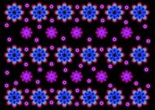 Bakgrunden av ovanliga blommor på svart Arkivfoto