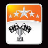 bakgrunden flags den orange tävlings- stjärnatrofén Arkivbilder
