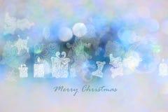 Bakgrunder för juldag med blåa bokehbakgrunder Royaltyfri Foto