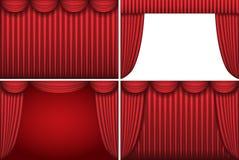 bakgrunder hänger upp gardiner teatern för fyra red Arkivbilder