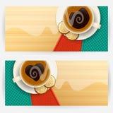 Bakgrunder med kaffekoppar Fotografering för Bildbyråer