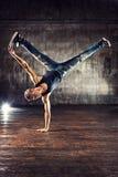 bakgrundsavbrottsbreakdancer dansar danswhite Fotografering för Bildbyråer