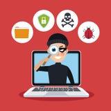 Bakgrundsbärbar dator för röd färg med spionage med en hacker stock illustrationer