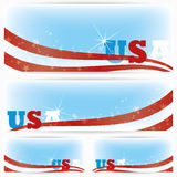 Bakgrundsbaner av USA flaggor, broschyr stock illustrationer