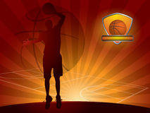 bakgrundsbasketspelare Stock Illustrationer