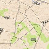 Bakgrundsbegrepp för Topographic översikt med vägar, skogar, bosättningar, lättnadskonturer Kan användas för tapeten, rengöringsd royaltyfri illustrationer