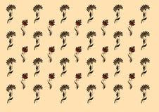 bakgrundsbeigen blommar din lokaltext Vildblommor och sidor på sand/gul bakgrund stock illustrationer