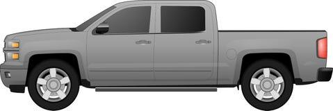 bakgrundsbil av vägwhite Bild av en brun pickup i realistisk stil också vektor för coreldrawillustration Arkivfoto
