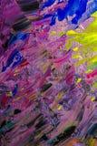 Bakgrundsbild av den ljusa olja-målarfärg palettcloseupen Arkivbilder