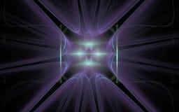 Bakgrundsbild med ett abstrakt symbol i formen av en stjärnalila med en lysande mitt på en svart bakgrund Arkivbild