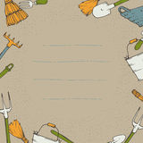 Bakgrundsbild med trädgårds- hjälpmedel Stock Illustrationer