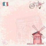 Bakgrundsbild på paris som visar den Moulin rougen vektor illustrationer
