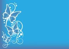 bakgrundsbluefjärilar stock illustrationer