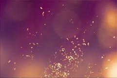 bakgrundsbokehmusik bem?rker tematiskt Guld- konfettier p? bakgrund Defocused rodna bakgrund Festlig temastil kort easter arkivfoto