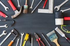bakgrundscarpentry tools trä Kopieringsutrymme för inskrift fotografering för bildbyråer