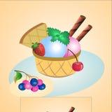 bakgrundschokladkottar lagar mat med grädde isicecream över white för pistaschjordgubbevanilj royaltyfri illustrationer