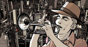 bakgrundscityscape över trumpetare stock illustrationer