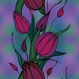 bakgrundsclaret blommar den seamless vektorn Arkivbilder