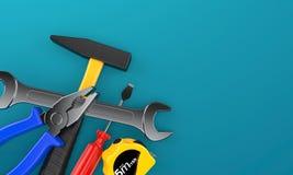 bakgrundscloseupen få metallskruvar tools vitt arbete vektor illustrationer