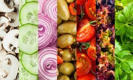Bakgrundscollage av tärnade nya grönsaker arkivbild