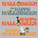 bakgrundscopyspaceondskan varar spökskrivareare halloween den träspökade vektorn för mallen för tecknet för pumpa för lykta o för Arkivbilder