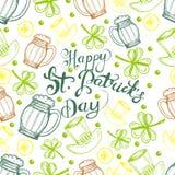 bakgrundsdagpatrick s st För modellth för vektor sömlösa symboler för irländare av Sts Patrick ferie vektor illustrationer