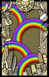 bakgrundsdeltagareregnbåge royaltyfri illustrationer