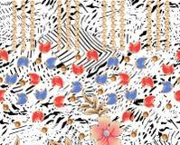 Bakgrundsdesign med blom- och sidor Arkivfoto